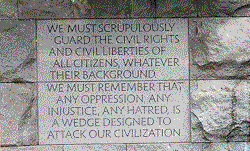 Image of Freedom Plaque on stone wall